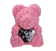 Rose Bear Pink 37cm with black heart