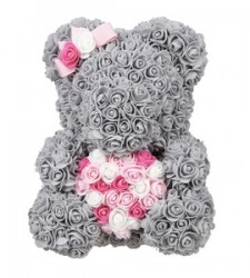 Rose Bear Grey with pink colorful heart  37εκ