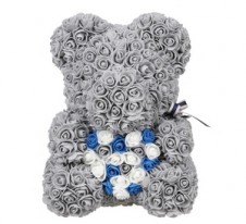 Rose Bear Grey with blue colorful heart 37cm