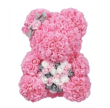 Rose Bear Pink with pink colorful heart 37cm