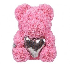 Rose Bear Pink with silver heart 37cm