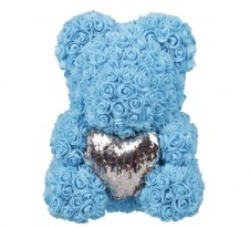 Rose Bear Blue with silver heart 37cm