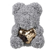 Rose Bear Grey with gold heart 37cm