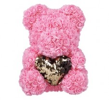 Rose Bear Pink 37cm with gold heart