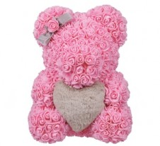 Rose Bear Pink 37cm with grey fluffy heart