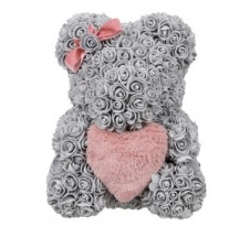 Rose Bear Grey 37cm with pink fluffy heart
